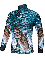 cheap -Women's Men's Fishing Jacket Skin Coat Outdoor UPF50+ Quick Dry Lightweight Breathable Jacket Spring Summer Fishing Camping & Hiking Cycling / Bike Blue / Long Sleeve / Stretchy
