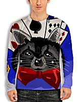 cheap -Men's Tunic 3D Print Cat Graphic Animal Print Long Sleeve Daily Tops Basic Casual Black