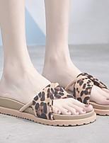 cheap -Women's Sandals Flat Heel Open Toe Flat Sandals Casual Daily Walking Shoes PU Leopard Almond Black