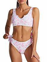 cheap -fanuerg women's cow print crop top bikini set push up two piece swimsuits bowknot bathing suits pink m