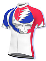 cheap -21Grams Men's Short Sleeve Cycling Jersey Spandex White Skull Bike Top Mountain Bike MTB Road Bike Cycling Breathable Quick Dry Sports Clothing Apparel / Athleisure