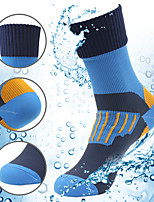 cheap -Men's Women's Hiking Socks 1 Pair Winter Outdoor Waterproof Breathable Warm Stretchy Socks Patchwork Nylon Chinlon Blue for Fishing Climbing Camping / Hiking / Caving