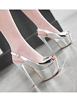 cheap -Women's Sandals Stiletto Heel Peep Toe PU Synthetics Gold Silver