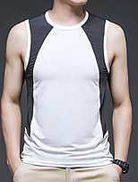 cheap -Men's T shirt Hiking Vest / Gilet Hiking Tee shirt Sleeveless Crew Neck Tee Tshirt Top Outdoor Quick Dry Lightweight Breathable Stretchy Autumn / Fall Spring Summer Ice Silk Polyester White Black Red
