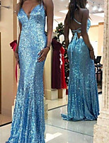 cheap -Sheath / Column Beautiful Back Sexy Engagement Formal Evening Dress V Neck Sleeveless Floor Length Sequined with Pleats Sequin 2021