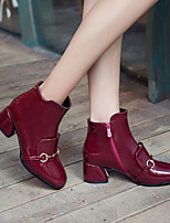 cheap -Women's Boots Chunky Heel Round Toe Booties Ankle Boots Casual Vintage Classic Daily Office & Career PU Solid Colored Wine Black / Booties / Ankle Boots