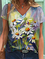 cheap -Women's T shirt Graphic Floral Print V Neck Tops Basic Basic Top Blue Green Gray