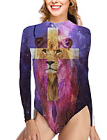 cheap -Women's New Vacation Fashion One Piece Swimsuit Color Block Animal Tummy Control Print Bodysuit Normal High Neck Swimwear Bathing Suits Purple / Party