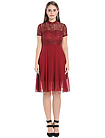 cheap -A-Line Flirty Elegant Party Wear Cocktail Party Dress Illusion Neck Short Sleeve Knee Length Chiffon with Lace Insert 2021