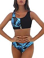 cheap -Women's Bikini Swimsuit Blue and White Stripe Green and white Orange + Leopard Red + Leopard Swimwear Bathing Suits Casual