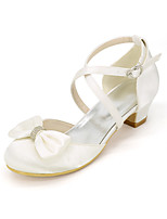 cheap -Girls' Heels Flower Girl Shoes Satin Little Kids(4-7ys) Big Kids(7years +) Party & Evening Bowknot Sparkling Glitter White Ivory Spring Summer