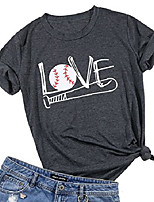 cheap -women love baseball bat t-shirt short sleeve casual blouse tee top size l (gray)