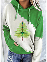 cheap -Women's Pullover Hoodie Sweatshirt Color Block Graphic Prints Front Pocket Print Daily Going out Other Prints Casual Streetwear Hoodies Sweatshirts  Green
