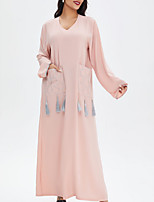 cheap -Women's A Line Dress Maxi long Dress Blue Blushing Pink Long Sleeve Solid Color Patchwork Summer Round Neck Casual 2021 M L XL XXL