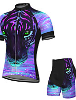 cheap -Men's Short Sleeve Cycling Jersey with Shorts Spandex Purple Leopard Bike Breathable Quick Dry Sports Graphic Mountain Bike MTB Road Bike Cycling Clothing Apparel / Stretchy / Athletic / Athleisure