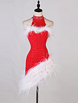 cheap -Latin Dance Dress Feathers / Fur Split Joint Tiered Women's Training Sleeveless High Chinlon