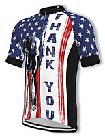 cheap -21Grams Men's Short Sleeve Cycling Jersey Spandex Blue National Flag Bike Top Mountain Bike MTB Road Bike Cycling Breathable Quick Dry Sports Clothing Apparel / Athleisure