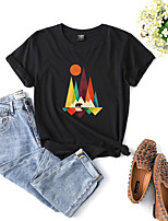 cheap -Women's T shirt Graphic Print Round Neck Tops Cotton Basic Basic Top White Black Purple