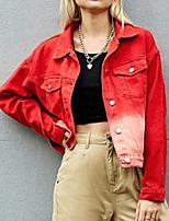 cheap -Women's Color Block Basic Spring &  Fall Denim Jacket Regular Daily Long Sleeve Cotton Coat Tops Red