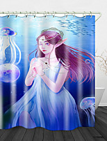 cheap -Jellyfish in the sea Print Waterproof Fabric Shower Curtain for Bathroom Home Decor Covered Bathtub Curtains Liner Includes with Hooks