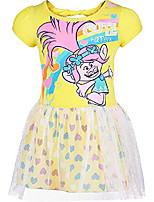 cheap -Trolls Toddler Girls' Tulle Dress Poppy, Yellow with Rainbow Hearts (4T)
