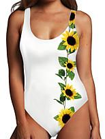 cheap -Women's One Piece Monokini Swimsuit Tummy Control Print Color Block Floral White Yellow Beige Swimwear Bodysuit Strap Bathing Suits New Fashion Sexy