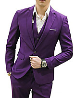 cheap -Tuxedos Standard Fit Notch Single Breasted Two-buttons Cotton Blend / Polyester Solid Color