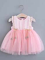 cheap -Toddler Little Girls' Dress Solid Colored Print White Blushing Pink Knee-length Sleeveless Regular Sweet Dresses Summer Loose 2-4 Years