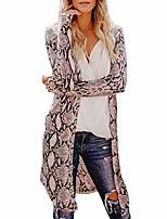 cheap -zanfun women long cardigan sexy snake print fashion coat holiday beach leisure elegant coat long sleeves outwear brown