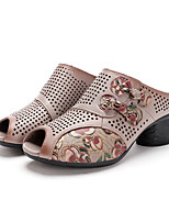 cheap -Women's Sandals Chunky Heel Peep Toe Leather Sequin Solid Colored White Black Light Pink