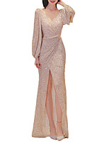 cheap -Sheath / Column Sparkle Sexy Prom Formal Evening Dress V Neck Long Sleeve Floor Length Sequined with Sequin 2021
