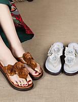 cheap -Women's Slippers & Flip-Flops Leather Flower Solid Colored Dark Brown Beige
