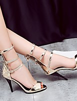 cheap -Women's Sandals Stiletto Heel Peep Toe PU Synthetics Dark Grey Gold