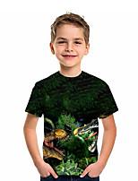 cheap -Kids Boys' T shirt Short Sleeve Dinosaur Animal Daily Wear Print Children Summer Tops Active Regular Fit Green 4-12 Years