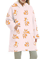 cheap -Women's Home Polyester Hooded Loungewear Long Sleeve Pocket Winter Animal One-Size Blue / Print