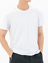 cheap -Men's T shirt Hiking Tee shirt Short Sleeve Crew Neck Tee Tshirt Sun Shirt Top Outdoor UV Sun Protection Quick Dry Lightweight Breathable Autumn / Fall Spring Summer Spandex Polyester Solid Color