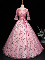 cheap -Ball Gown Luxurious Floral Quinceanera Prom Dress Jewel Neck 3/4 Length Sleeve Floor Length Tulle with Sash / Ribbon Embroidery 2021