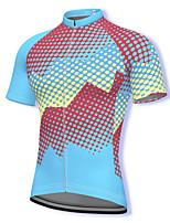 cheap -21Grams Men's Short Sleeve Cycling Jersey Spandex Sky Blue Polka Dot Bike Top Mountain Bike MTB Road Bike Cycling Breathable Quick Dry Sports Clothing Apparel / Athleisure