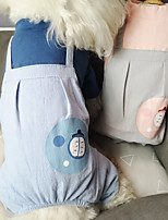 cheap -Dog Cat Jumpsuit Cartoon Basic Elegant Cute Dailywear Casual / Daily Dog Clothes Puppy Clothes Dog Outfits Breathable Blue Gray Costume for Girl and Boy Dog Cotton S M L XL XXL
