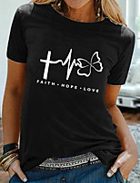 cheap -Women's T shirt Graphic Text Print Round Neck Tops 100% Cotton Basic Basic Top White Black