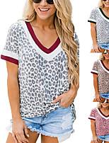 cheap -Women's T shirt Graphic Print V Neck Tops Rock Basic Top Wine Khaki Green