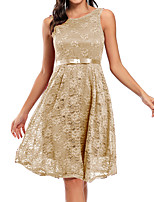 cheap -A-Line Elegant Vintage Party Wear Cocktail Party Dress Jewel Neck Sleeveless Knee Length Lace with Pleats 2021