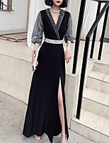 cheap -Sheath / Column Glittering Sexy Wedding Guest Formal Evening Dress V Neck Long Sleeve Floor Length Spandex Tulle with Sash / Ribbon Split 2021