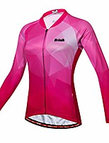 cheap -women's cycling jersey long sleeve reflective with rear zippered bag red pink size xxl