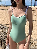 cheap -Women's One Piece Swimsuit Solid Colored Padded Swimwear Bodysuit Swimwear Green Breathable Quick Dry Comfortable Sleeveless - Swimming Surfing Water Sports Summer / Spandex