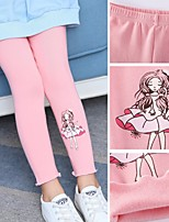 cheap -Kids Toddler Girls' Leggings Causal Solid Color Cartoon Print Trousers White Black Blushing Pink 2-12 Years
