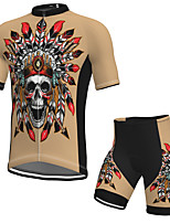 cheap -Men's Short Sleeve Cycling Jersey with Shorts Spandex Khaki Skull Bike Breathable Quick Dry Sports Graphic Mountain Bike MTB Road Bike Cycling Clothing Apparel / Stretchy / Athletic / Athleisure