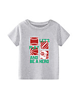 cheap -Kids Boys' T shirt Short Sleeve Black White Blue Graphic Letter Daily Wear Print Children Children's Day Summer Tops Active Regular Fit White Black Blue 2-9 Years