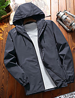 cheap -Men's Hiking Softshell Jacket Hiking Windbreaker Autumn / Fall Spring Summer Outdoor Solid Color Windproof Quick Dry Lightweight Breathable Jacket Hoodie Top Spandex Full Length Visible Zipper