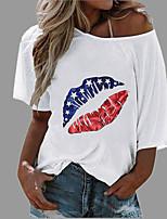 cheap -Women's T shirt Graphic Mouth Round Neck Diagonal Neck Tops Beach Hawaiian Basic Top White Blue Yellow